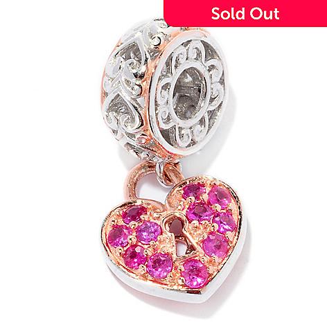 127-906 - Gems en Vogue Pink Sapphire Heart Lock Drop Charm