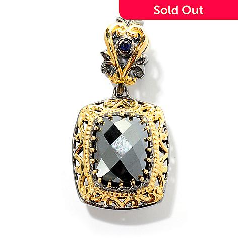 127-911 - Gems en Vogue 10 x 8mm Hematite and Sapphire Drop Charm