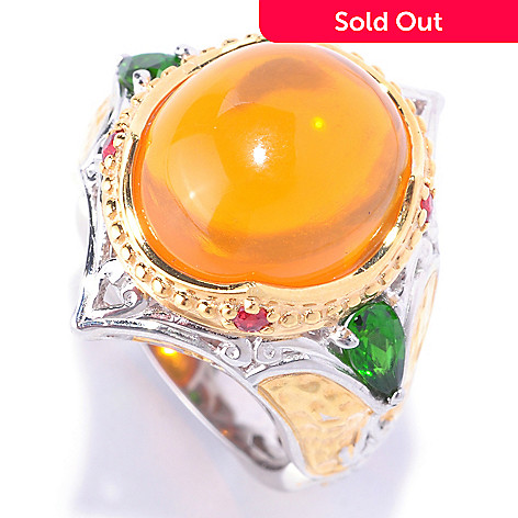 127-916 - Gems en Vogue 14 x 12mm Fire Opal, Orange Sapphire & Chrome Diopside Ring