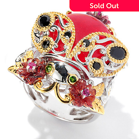 127-917 - Gems en Vogue 14mm Red Quartz & Multi Gemstone Ladybug Ring