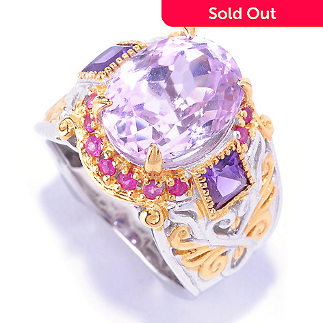 127-920 - Gems en Vogue 6.74ctw Kunzite, Amethyst & Pink Sapphire Ring