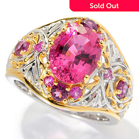 127-922 - The Vault from Gems en Vogue 3.49ctw Pink Tourmaline & Multi Gem Ring