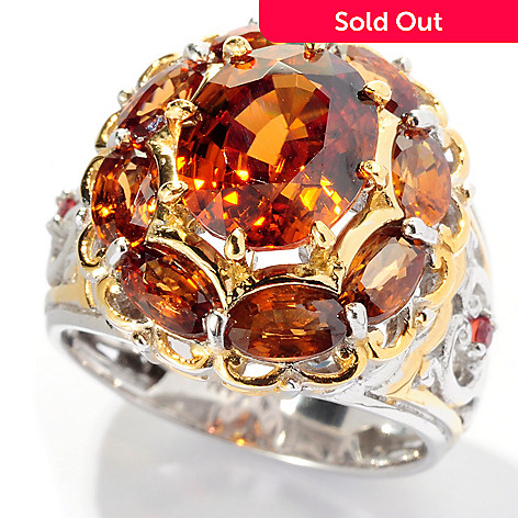 127-923 - Gems en Vogue II 5.65ctw Mocha Zircon and Orange Sapphire Halo Ring