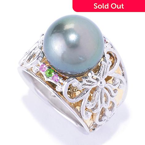 127-924 - Gems en Vogue 12mm Cultured Tahitian Pearl and Multi Gemstone Ring