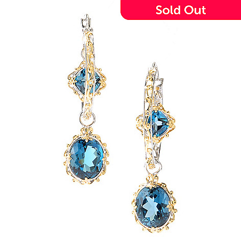 127-927 - Gems en Vogue 2'' 14.54ctw London Blue Topaz Double Drop Hoop Earrings