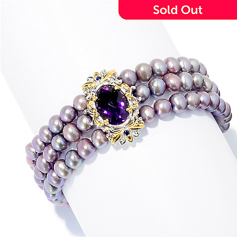 127-929 - Gems en Vogue 6mm Cultured Freshwater Pearl & Multi Gemstone Three-Row Bracelet