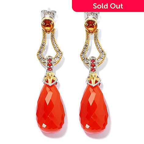 127-930 - Gems en Vogue 24 x 12mm Carnelian and Multi Gemstone Drop Earrings