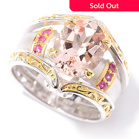 127-934 - Gems en Vogue 2.29ctw Morganite & Pink Sapphire Sandblasted Ring