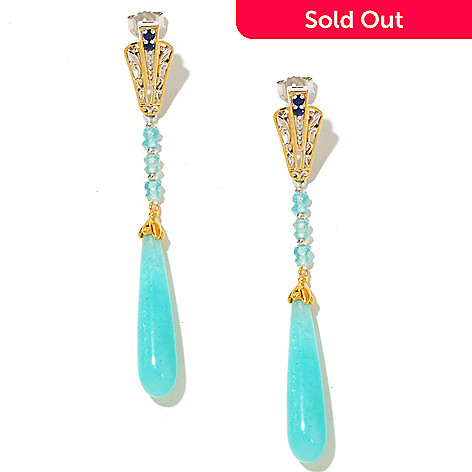 127-935 - Gems en Vogue 30 x 7mm Amazonite, Apatite & Sapphire Elongated Earrings