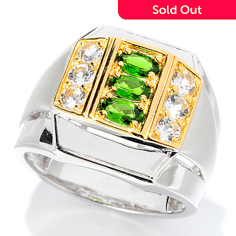 127-941 - Men's en Vogue 1.65ctw Chrome Diopside & White Topaz Ring