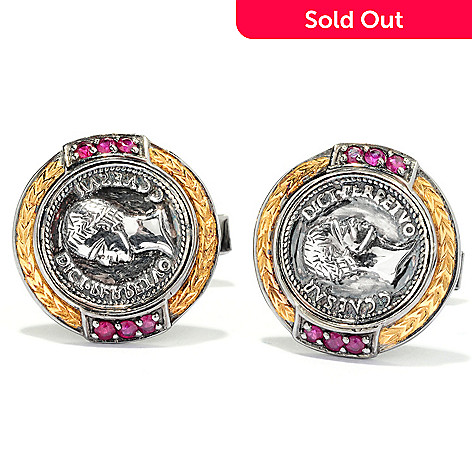 127-943 - Men's en Vogue Sculpted Coin Design & Ruby Cuff Links
