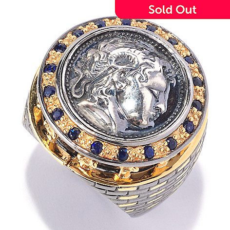 127-944 - Men's en Vogue Sapphire & Sculpted Coin Design Ring