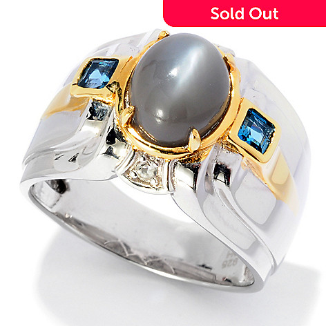 127-945 - Men's en Vogue 10 x 8mm Moonstone, Topaz & White Sapphire Ring
