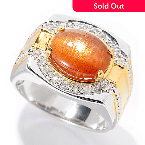 127-946 - Men's en Vogue II 11 x 9mm Sunstone & White Sapphire Ring