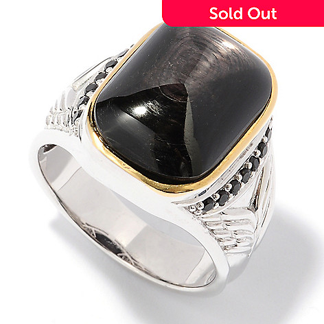 127-952 - Men's en Vogue 18 x 13mm Hypersthene & Black Spinel Ring