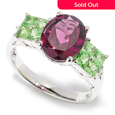 127-954 - Gem Treasures 14K White Gold 3.79ctw Rhodolite, Tsavorite, & Diamond Ring