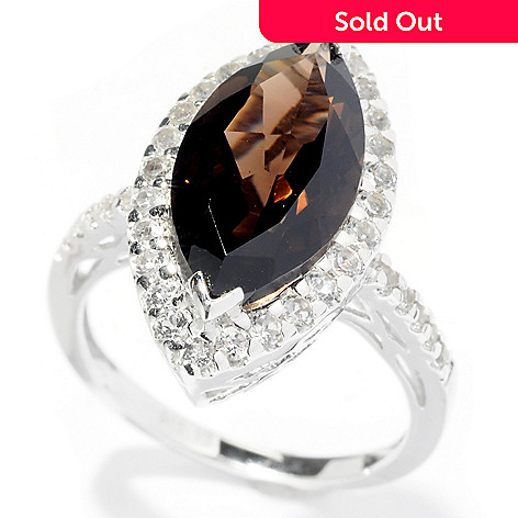 127-956 - Gem Treasures Sterling Silver 3.59ctw Marquise Smoky Quartz & White Topaz Ring