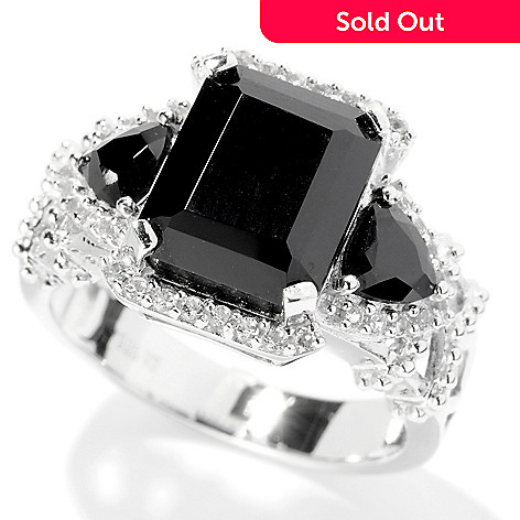 127-957 - Gem Treasures® Sterling Silver 4.92ctw Black Spinel & White Topaz Ring