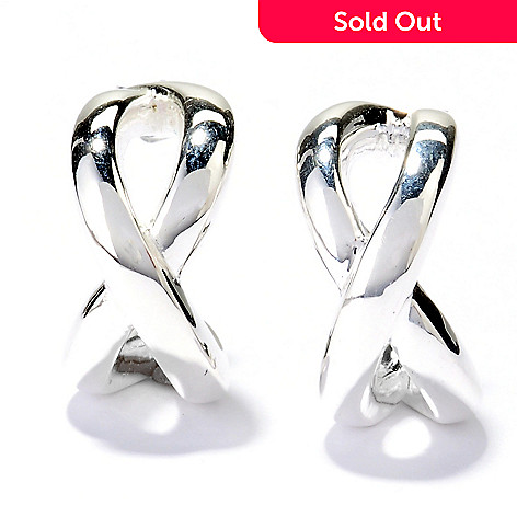 127-993 - SempreSilver® 3/4'' Polished Crisscross Hoop Earrings
