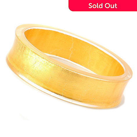 127-999 - Italian Designs with Stefano 24K ''Oro Puro'' Gold Foil & Resin Concave Bracelet