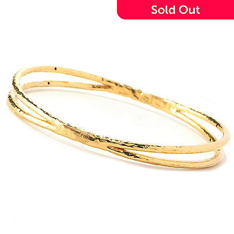 128-003 - Italian Designs with Stefano 14K ''Oro Vita'' Electroform Cesello Bangle Bracelet