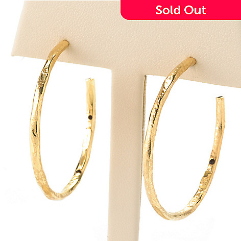128-004 - Italian Designs with Stefano 14K ''Oro Vita'' Electroform Hoop Earrings