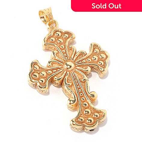 128-008 - Italian Designs with Stefano 14K ''Oro Vita'' Electroform Cross Pendant