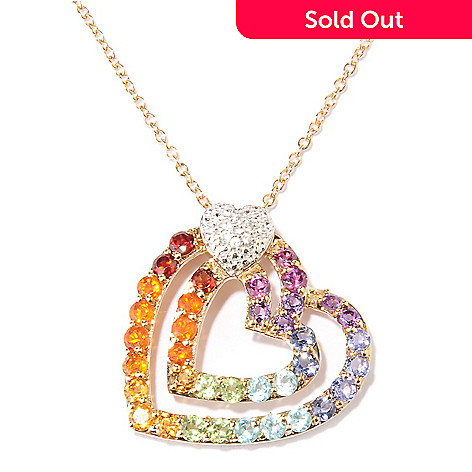 128-016 - NYC II® 1.88ctw Multi Gemstone Rainbow Heart Pendant w/ Chain