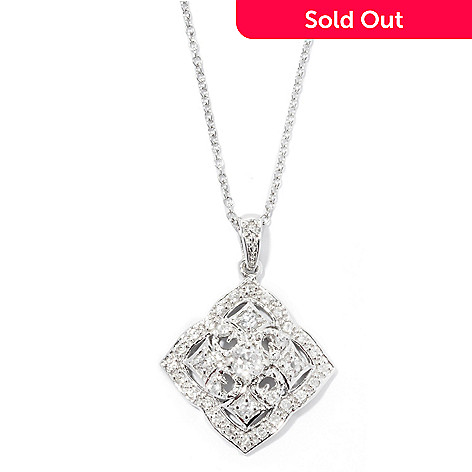 128-017 - NYC II™ White Zircon Diamond Shaped Cross Pendant w/ 18'' Chain