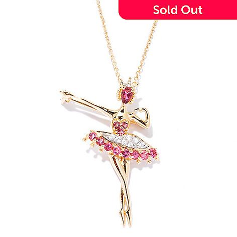 128-018 - NYC II™ Pink Tourmaline & White Zircon Ballerina Pendant / Pin w/ Chain