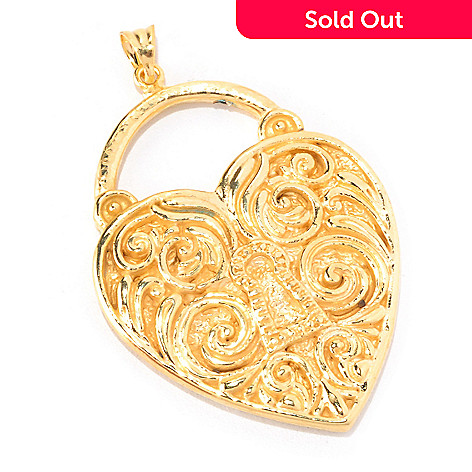 128-019 - Italian Designs with Stefano 14K ''Oro Vita'' Electroform Heart Lock Pendant