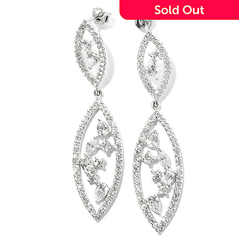 128-022 - Brilliante® Platinum Embraced™ 2'' 4.28 DEW Simulated Diamond Marquise Shaped Drop Earrings