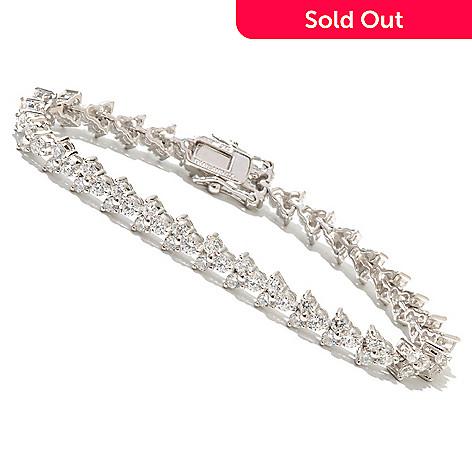 128-024 - Brilliante® Platinum Embraced™ Three-Stone Simulated Diamond Line Bracelet