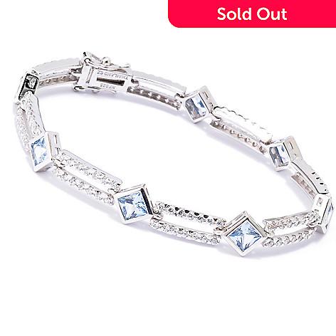 128-025 - Brilliante® Platinum Embraced™ Multi Shaped Blue & White Simulated Diamond Line Bracelet