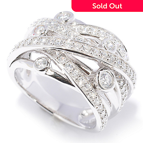 128-026 - Sonia Bitton 1.48 DEW Round Cut Pave & Bezel Set Simulated Diamond Woven Ring