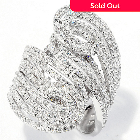 128-028 - Sonia Bitton for Brilliante® 3.02 DEW Elongated Pave Swirl Ring