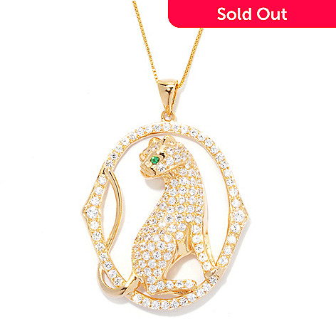 128-029 - Sonia Bitton 4.50 DEW Simulated Diamond Panther Pendant w/ 18'' Chain