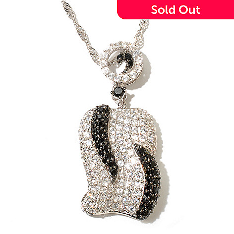 128-032 - Gem Treasures® Sterling Silver 3.21ctw White Zircon & Spinel Pendant w/ Chain