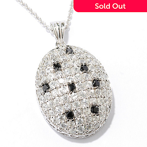 128-052 -  Gem Treasures® Sterling Silver White Zircon & Black Spinel Oval Pendant w/ Chain