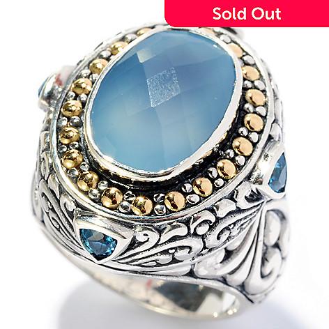 128-060 - Artisan Silver by Samuel B. 14 x 10mm Blue Chalcedony & Blue Topaz Ring