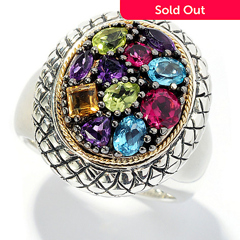 128-061 - Artisan Silver by Samuel B. 1.75ctw Multi Gemstone Geometrical Ring