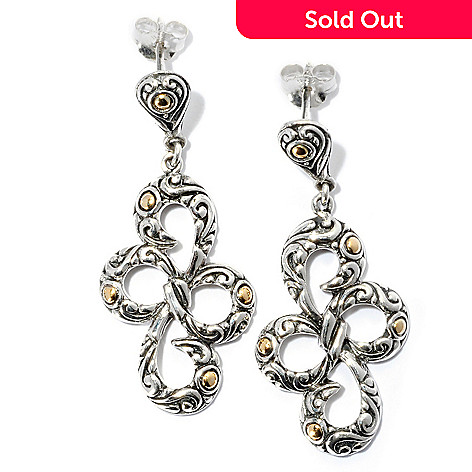 128-063 - Artisan Silver by Samuel B. 1.75'' Bow Dangle Earrings
