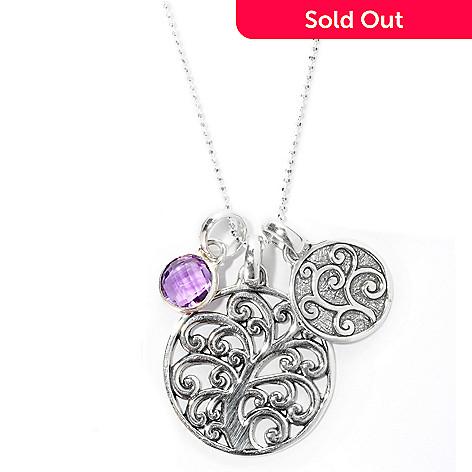 128-065 - Artisan Silver by Samuel B. 30'' Amethyst Charm Necklace