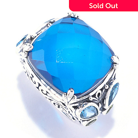 128-066 - Artisan Silver by Samuel B. London Blue Topaz Quartz Doublet & Multi Gem Ring