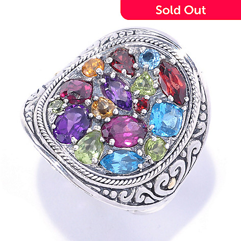 128-067 - Artisan Silver by Samuel B. 3.47ctw Multi Gemstone Concave Ring