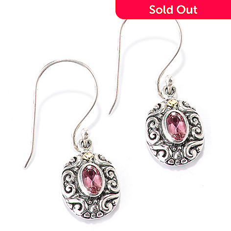 128-071 - Artisan Silver by Samuel B. Oval Gemstone Dangle Earrings