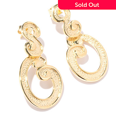 128-073 - Toscana Italiana Gold Embraced™ Martellato Etruscan Swirl Drop Earrings