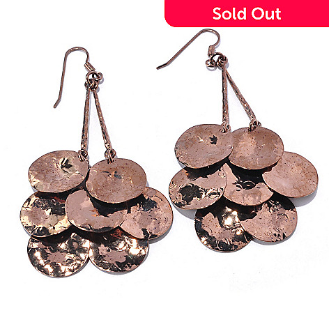 128-075 - Toscana Italiana Gold Embraced™ 3'' Seven-Disk Pendulum Drop Earrings