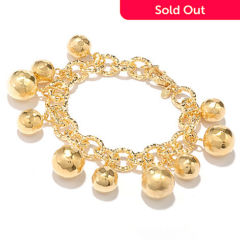 128-078 - Toscana Italiana 18K Gold Embraced™ 8'' Martellato Bead Charm Bracelet
