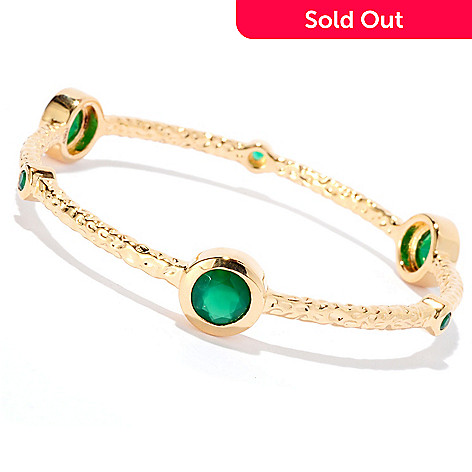 128-079 - Toscana Italiana 18K Gold Embraced™ 8'' Green Agate Slip-on Bangle Bracelet